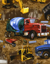 EARTH MOVING EQUIPMENT TRUCKS DIRT #2638 COTTON QUILT TIMELESS TREASURES FABRIC