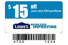 (5) Lowes $15 Off $50 In-Store & Online-Coupons-Instant-Delivery Exp. 04/04/17