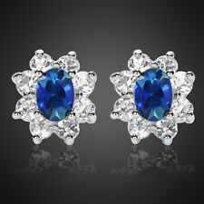 Xmas Jewelry Lady Oval Cut Blue Sapphire White Gold Plated Stud Ring Earrings