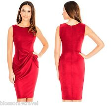 Goddess Vintage Red Drape Bow Fitted Pencil Wiggle Cocktail Party Shift Dress