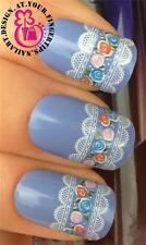 NAIL ART WATER TRANSFER STICKERS DECALS WHITE LACE & MINATURE FLORAL ROSES #284