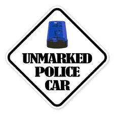 "Unmarked Police Car car bumper sticker decal 4"" x 4"""