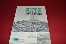 Patz Overhead Expandable Cattle Feeder Dealer's Brochure NHMN