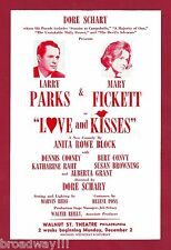 "Larry Parks ""LOVE and KISSES"" Mary Fickett / Bert Convy 1963 FLOP Tryout Flyer"