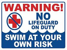 NO LIFE GUARD ON DUTY - SIGN- #PS-511/12...LARGE