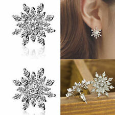925 Silver Snowflake Crystal Rhinestone Ear stud Earrings Wedding Bridal Jewelry