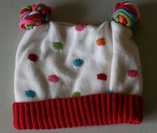 Gymboree  Winter Cheer Size 2T 3T White Polka Dot Pom Pom Lined Hat EUC