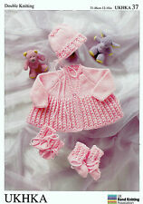 Baby Matinee Coat Bonnet, Mittens & Bootees DK KNITTING PATTERN - UKHKA 37