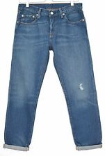 Levis 501 CT Slim Boyfriend Medium Blue Distressed Tapered Jeans Size 8 W26 L32