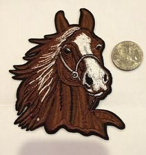 "RACE  HORSE HEAD Embroidered Iron on Patch 4""x3"" Brown! Beautiful!"