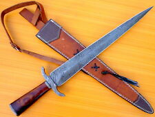 CUSTOM DAMASCUS STEEL HUNTING KNIFE BOWIE / SWORD ARKANSAS TOOTHPICK DAGGER NEW