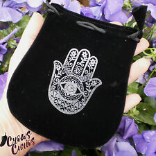 "5"" Black Velvet Drawstring Pouch Hamsa Hand Bag for Tarot Runes Charms Wicca"