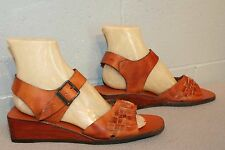 8.5 NOS BROWN WOVEN LEATHER Vtg 70s WOOD WEDGE HEEL HIPPY BOHO SANDAL NEW Shoe