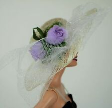 Barbie Doll New Hat Gorgeous Handmade w Lilac Flowers  Clothes  Accessories