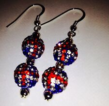 CRYSTAL UNION JACK  DROP EARRINGS WITH 2 CLAY CZECH CRYSTAL DISCO BEAD-UK SELL