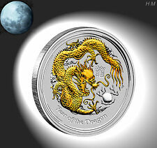 Lunar 2, Silber /Silver,1 oz. Drache /Dragon, +COA vergoldet/gilded/Gold-Appl.