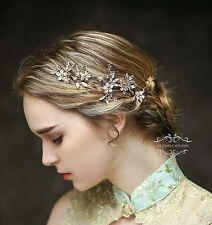 Handmade Flower Bridal Hair Vine Vintage Formal Golden hair piece Wedding