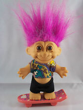 SKATEBOARDER Russ Troll Doll Skate Board Purple Hair Good Luck Bingo