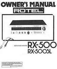 Rotel RX-500 Receiver Owners Manual