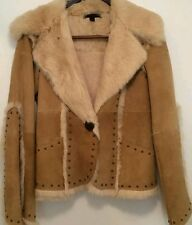 ! REDUCED S/H  Sheri Bodell women size L beige leather and rabbit fur jacket