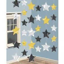 Gold, Silver & Black Hanging Strings of Stars Party Decorations x 6