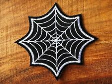 BLACK & WHITE SPIDER WEB EMBROIDERED IRON ON PATCH NEW.