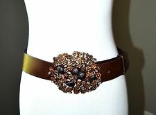 CLAUDIO ORCIANI BELT FLORAL CRYSTAL EMBELLISHED BROWN PEWTER BLUE 85 33""