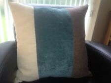 """4 X 22"""" TRENDY BROWN CHENILLE/ TEAL BLUE/CREAM CHENILLE CUSHION COVERS"""