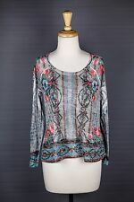 Sundance Catalog Burnout Tee Long Sleeve Shirt Top Gray Blue Floral Size Small S