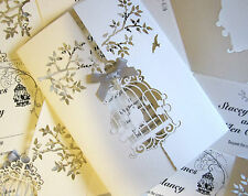 WEDDING INVITATION LASER CUT BIRD CAGE, INSERT & ENVELOPE (050)