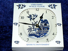 Blue Willow Pattern ceramic wall clock. Porcelain wall clock. Blue willow