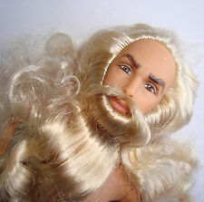 Ken Doll NUDE/OOAK Jointed Long Blonde/Grey Hair And Beard With Wrinkles NEW!