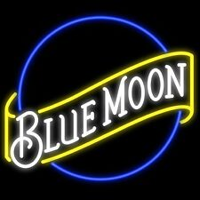 """New Blue Moon Beer Lager Bar Man Cave Neon Sign 17""""x14"""""""