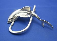 Extra Large Sterling Silver Great White Shark Fish and Hook Pendant Sapphire Eye
