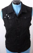 XXX Rude Black Denim Button Front Studded Skull Pocketed Jean Vest Women's M