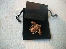 JOAN RIVERS Goldtone BEE Pin Festive Red & Green Crystal & Enamel NEW