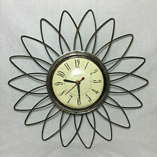 Vintage Retro Flower Kitchen United 1940s-50s Wall Clock Model No. 60 WORKS