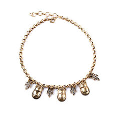 NEW Urban Anthropolo​​gie Insignia Armour Rhinestone Gold Necklace