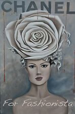 """Chanel Rose Hat Art Glam Poster Fashion Couture Illustration 5""""X7"""""""