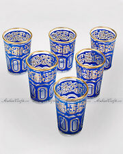 6 Arabic Glasses - Colorful Set of Moroccan DEEP BLUE Tea, Wine or Shot Glasses