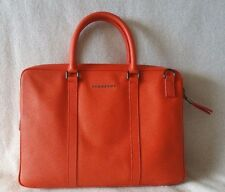 NWT Burberry Orange Newburg Briefcase Saffiano Leather Crossbody Strap Padded