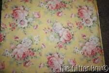 Tea For Two Fabric Sewing Material 2 Yds. Shabby Cottage Chic Yellow Pink Roses