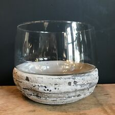 Round Stone & Glass Candle / Tea Light Holder - Shabby Chic Hurricane Vase
