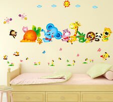 Wall Stickers Happy Cute Elephant Monkey Cartoon Animals for Kids Room 6900048