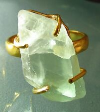 Gold plated brass everyday rough green fluorite ring UK R½/US 9