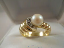 HEAVY ESTATE 14K SOLID YELLOW GOLD SWIRL DIAMOND PEARL WRAP RING 14KT 7.5 5.87G