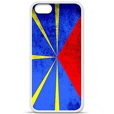 Coque housse étui tpu gel motif drapeau La Réunion Iphone 5 / 5S