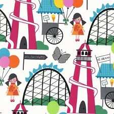 Michael Miller Funfair Fabric in Brite. Bright,Children,helter skelter - Per FQ