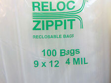 """4MIL 9x12 Zip Lock Bags 400 Large Heavy Duty Thick  9"""" x 12"""" Clear Reclosable"""