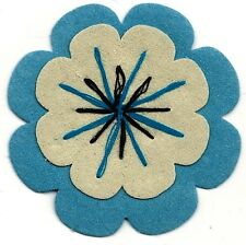 "2.5"" Peasant Blue Cream Suede flower patch"